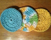 Crochet Aqua Blue and Yellow Cotton Facial Pads, Scrubbies, Coasters Set of 3