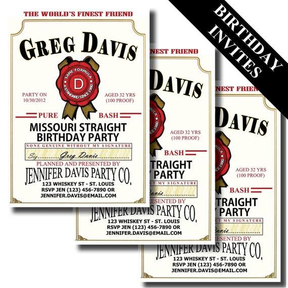Jim Beam Label Birthday Invitation | Bourbon | Whiskey | Milestone Birthday Invitations | 21st, 30th, 40th, 50th, 60th, Birthday | Milestone