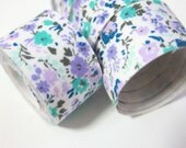 Self adhesive fabric masking tape / fabric sticker  - tiny purple and turquoise flowers