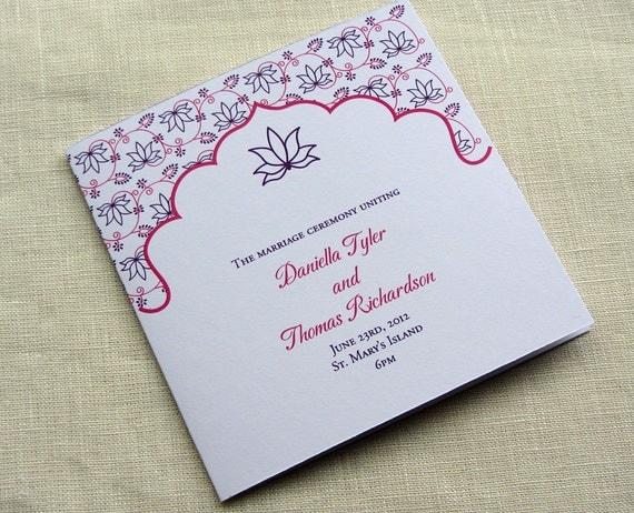 Indian Wedding Program - Floral Lotus Ceremony Program - Square - SAMPLE