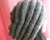 Unisex  Gray Alpaca Chunky  Hat, Slouchy hat