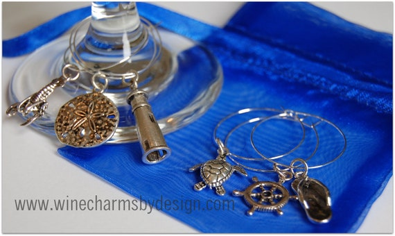 Seashore Wine Glass Charms: Turtle, Lobster, Lighthouse Seaside Ocean Charms (Set of 6)