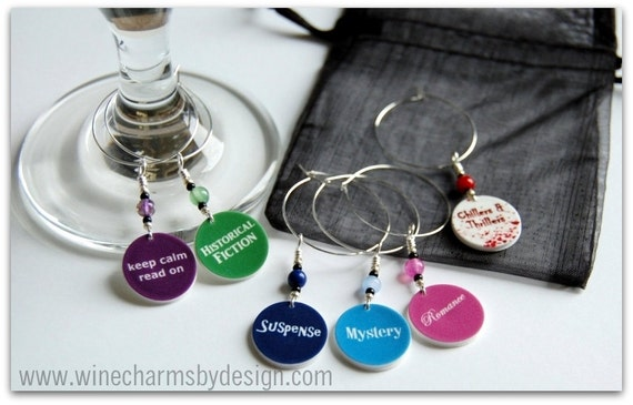 Wine Glass Charms for Book Clubs: Romance, Suspense, Historical Fiction, Mystery, and Chillers & Thrillers (Set of 6)
