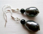 STORE CLOSING-50% 925 REAL Silver Black and Dark Grey Swarovski Crystal Pearl Bead Earrings with Silver Hooks