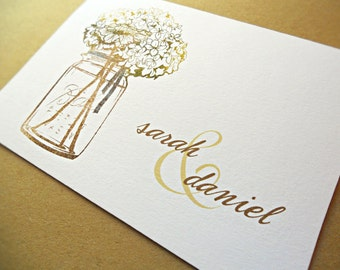 Mason Jar Personalized Wedding Stationery / Wedding Thank You Cards / Thank You Cards, 10-Count