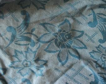 vintage WOVEN COTTON FABRIC, blue, white, flowers, Portugal