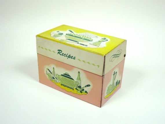 50s Tin Recipe Box Pink and Yellow