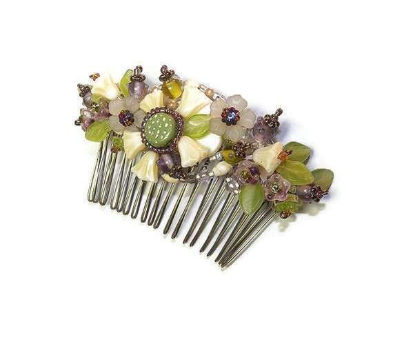 Brambles Hearts and Flowers Hair Comb Ornament WJ107