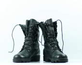Vintage Black Combat Jump Boots in Leather