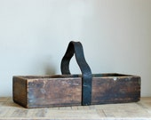 Vintage Wooden Box with Leather Handle