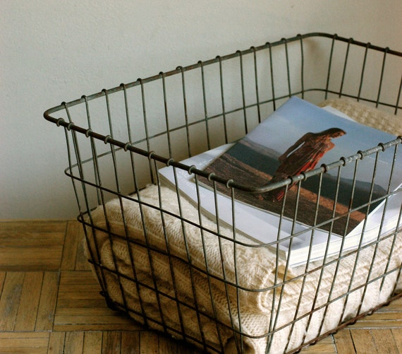 Large Vintage Metal Wire Basket, Industrial Storage Basket