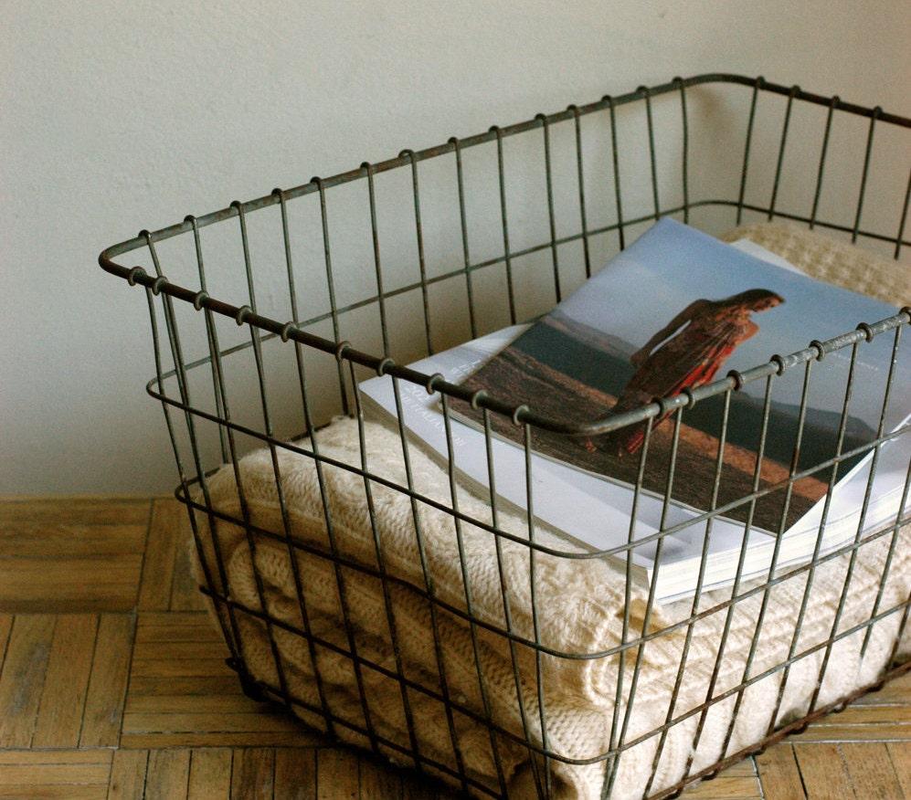 Metal Wire Baskets : Large vintage metal wire basket industrial storage