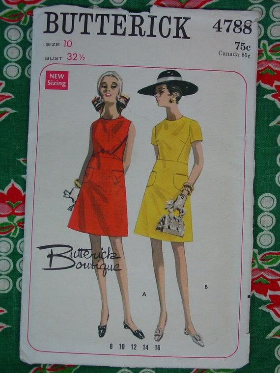 Vintage Pattern 1960's Butterick Boutique No.4788 Dress Size 10