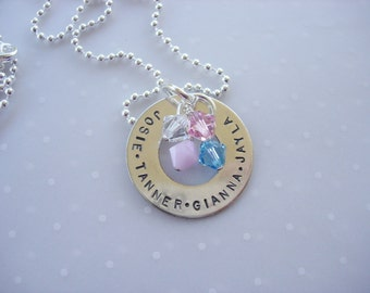 Sterling Silver Hand Stamped Washer Style Mother's Necklace - Four names