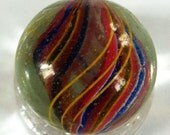 "1 3/16"" German Divided Core Swirl Marble Vintage"