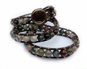 """Beaded Leather Wrap Bracelet """"More Mysterious Maci"""""""