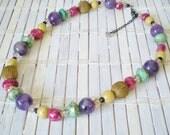 Jewel Tone Beads Necklace Amethyst Crystal Ceramic Glass