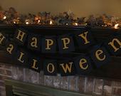 Halloween Banner Happy Halloween Black and Orange Sign Garland Handmade Halloween Photo Prop  (H6)