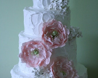 Gumpaste peonies and lilacs for wedding cake, DIY wedding cake decorations