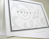 Thank You Card or Personalized Custom Note Card Black White Damask Traditional