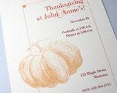 Thanksgiving Party Invitation Custom Fall Orange Fat Pumpkin Harvest Autumn Fill In BlanksFamily Celebration