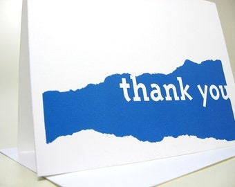Blue Thank You Card or Personalized Note Card in Bold Design