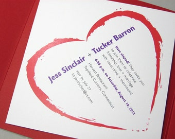 Elopement Party Invitation Pocketfold Bold Red Heart Quirky Modern Purple Type Bright Ribbon Wrap Square Pocket