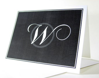 Monogram Note Card Custom Personalized Traditional Bold Black White Classic Initial Name Circle Wedding Thank You