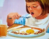 "1966 ""Breakfast"" Teaching Pictures, No. 2 of 12 in Food and Nutrition Series, 11x14 Poster"
