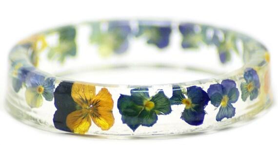 Flower Jewelry- Resin Bangle-Jewelry with Real Flowers- Flower Bracelet-  Multi Color Flowers- Purple  Bracelet-Yellow Bracelet