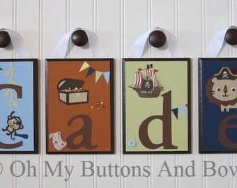 Pirate Nursery Theme . Hanging Name Letters . Nursery Name Decor . Baby Name Blocks . Hanging Name Blocks . Pirate Jungle Theme