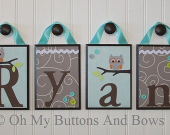 Wall Letters . Nursery Name Blocks . Nursery Decor . Baby Name Blocks . Hanging Wood Name Blocks . Owls . Aqua Gray Brown
