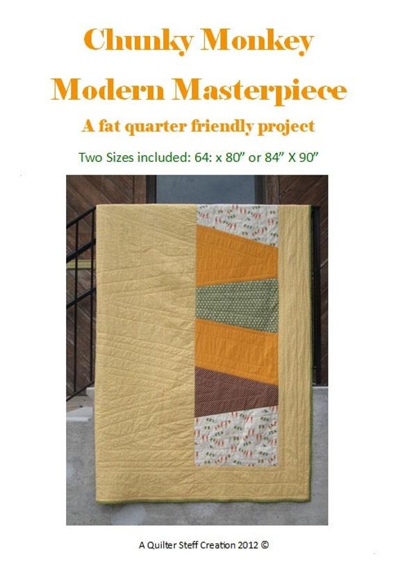 A Fat Quarter-friendly PDF Quilt Pattern: Chunky Monkey Modern Masterpiece - electronic file