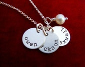 Mommy Necklace with Three Kids Names Stamped Sterling Silver Discs