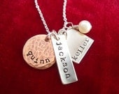 Stamped Tag Necklace with Three Kids Names Mixed Metals and Shapes