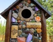Mosaic Birdhouse ' Rose' Garden Art