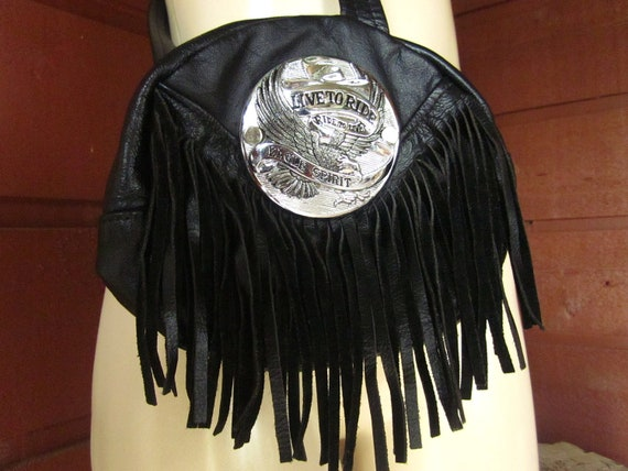 80's Fringe BLK Leather Purse // VTG Biker Cross Body