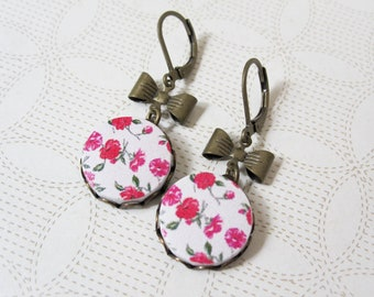 Flower and Bow Earrings - Wood Jewelry - Shabby Chic Jewelry - Flower Earrings - Pink Roses