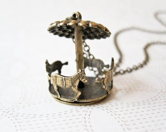 Carousel Necklace -  Whimsical Jewelry - Vintage Inspired - Bronze Horse Jewelry - Merry-Go-Round - Horse Necklaces - Animal Necklace