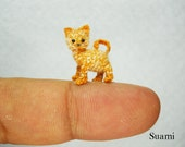 Tiny Cute Ginger Cat Kitten - Micro Mini Crochet Miniature Amigurumi Pet Animals - Made to Order