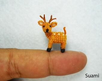0.8 Inch Fawn Buck Deer Amigurumi - Micro Miniature Crochet Stuffed Animals - Made To Order