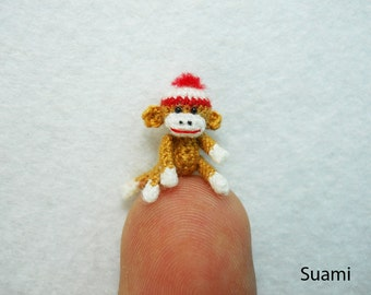 Mini Amigurumi Sock Monkey - Micro Crocheted Brown Sock Monkeys With Hat - Made to Order
