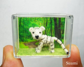 Cute White Tiger - Mini Tiny Crocheted Tigers - Made To Order