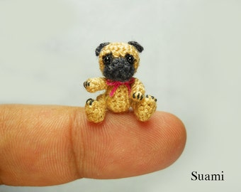 Micro Fawn Pug Dog Pink Bow - Tiny Dollhouse Miniature Pet - Made To Order