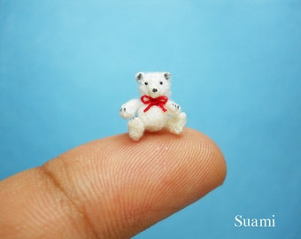 Micro Polar Bear Amigurumi -  Miniature Thread Crochet Bears - Made To Order