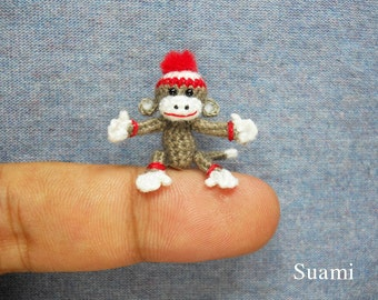 lovely Sock Monkey Pom Pom Hat - Tiny Crocheted Gray Sock Monkeys - Made to Order