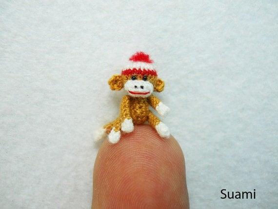 Amigurumi Crochet Sock Monkey : Mini Amigurumi Sock Monkey Micro Crocheted Brown Sock