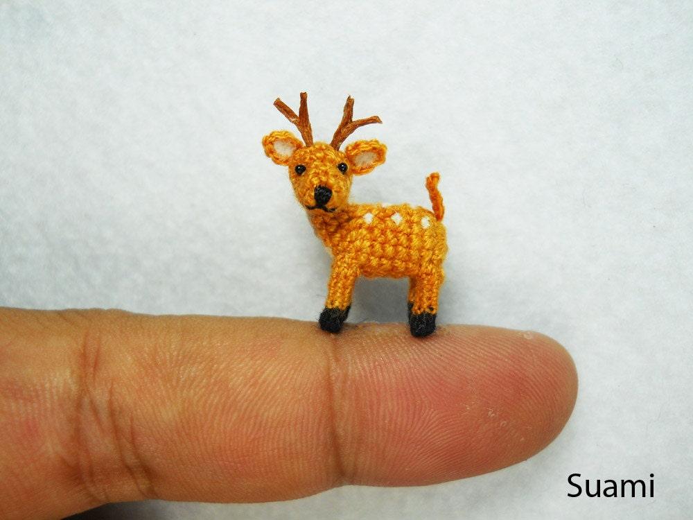 0.8 Inch Fawn Buck Deer Amigurumi Micro Miniature Crochet