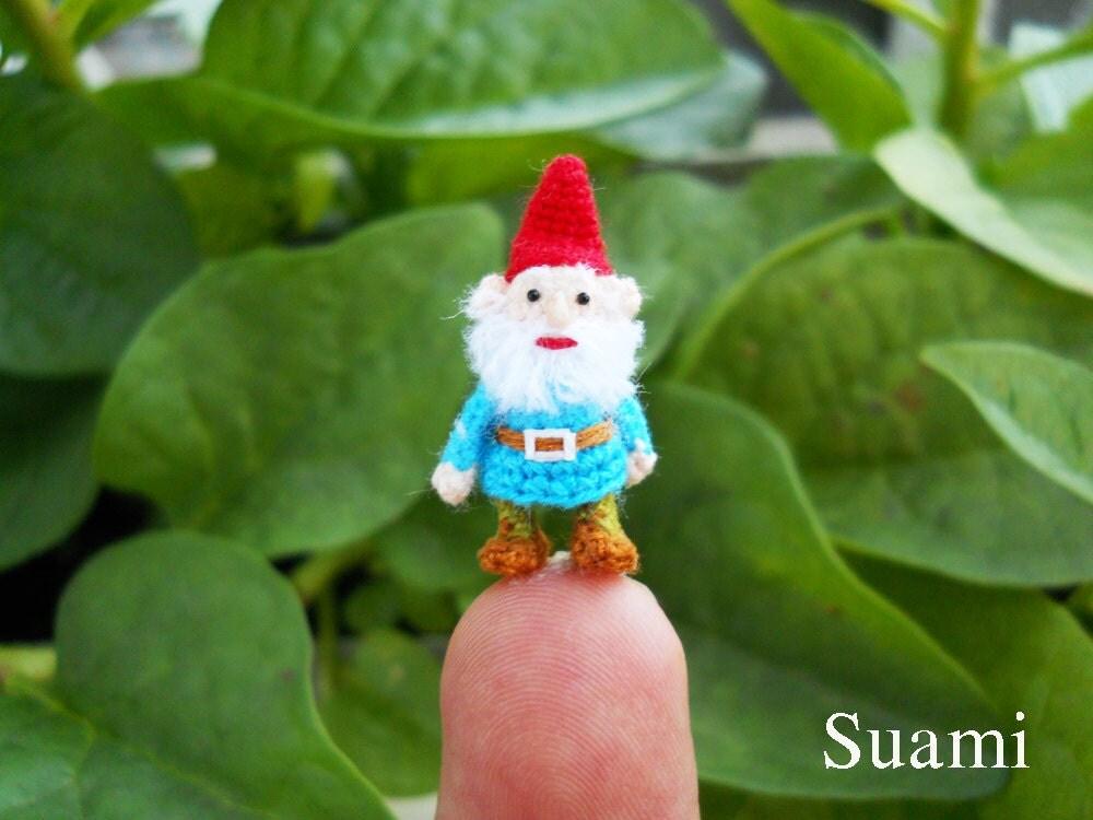 Gnome In Garden: Micro Amigurumi Gnome Tiny Miniature Crochet Mini Doll