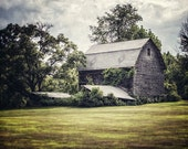 Rustic Decor, Barn Picture, Grey Barn Photography, Country Landscape Print or Canvas Wrap, Large Wall Art, Grey Green Olive, Vintage Barn.